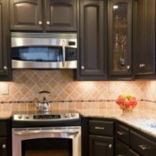 kitchen range and cabinets