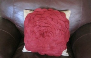 dark pink zinnia pillow