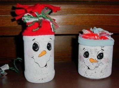 two glass jar snowmen nitelites