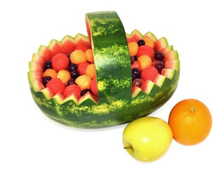 watermelon fruit salad basket