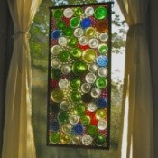 stained glass hanging in window