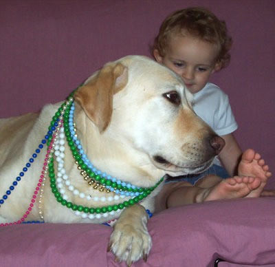 dog with beads and child
