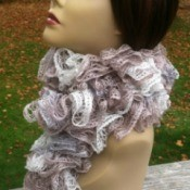 finished scarf on mannequin