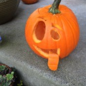 goofy pumpkin with a tongue hanging out