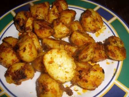 plate of curried potatoes