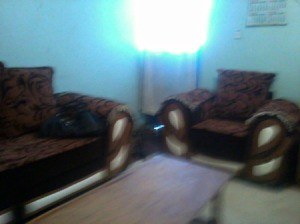photo showing blue walls and brown couch