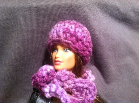 step 9, actually view of Barbie wearing hat and scarf