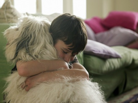 boy hugging a dog