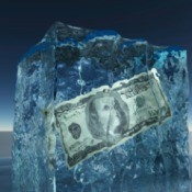 US currency in block of ice