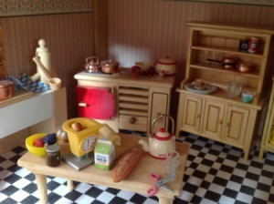 An old fashioned kitchen in a dollhouse