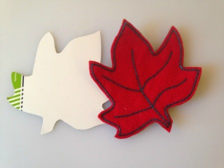 small felt maple leaf and template