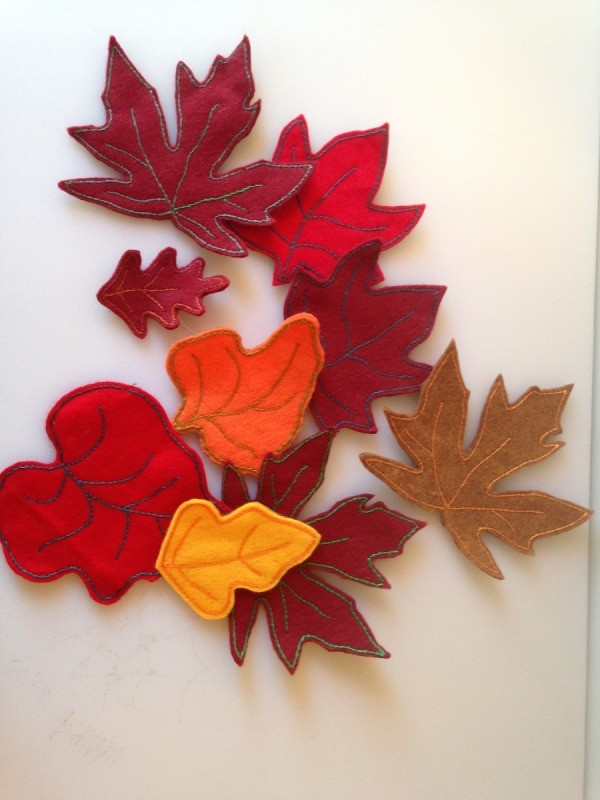 scatter of finished felt leaves