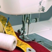 closeup of sewing machine needle area