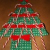 tree with candy canes in ribbon slots