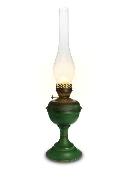 oil lamp on white background