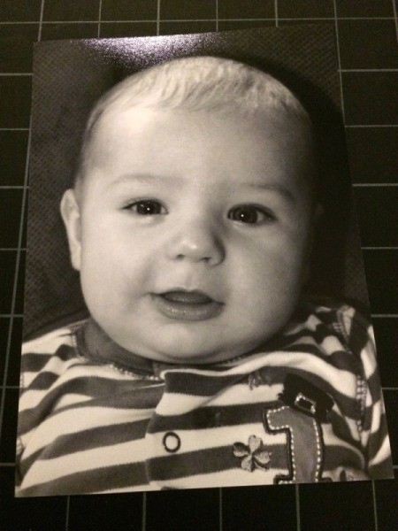 Baby Faces Birthday Banner - black and white photo