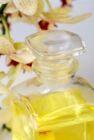 Homemade perfume in a glass bottle.