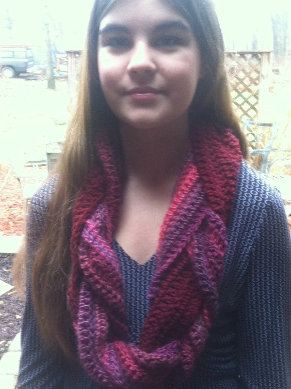 finished scarf on girl