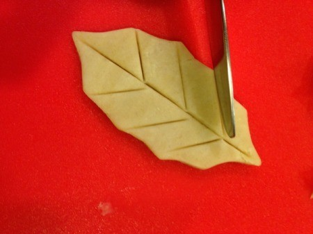 adding leaf veins with a knife
