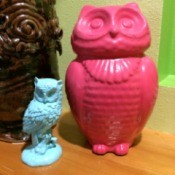 Revamping Thrift Store Figurines - hot pink and light blue owl figurines