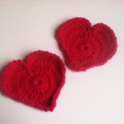 Cup of Love Heart Coasters - red crochet coasters