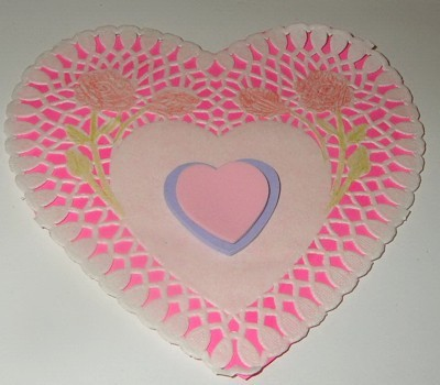 smaller hearts added to center of doily