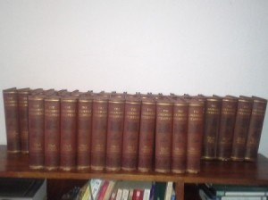 volumes on a shelf