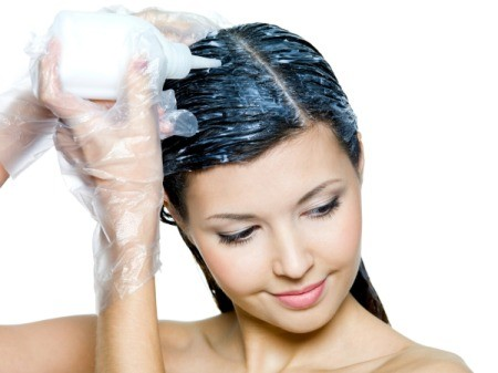Woman using Hair Dye