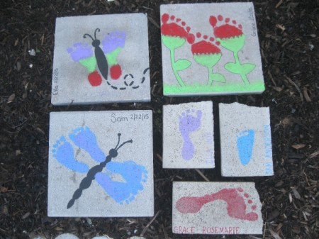 A collection of footprint painted stepping stones.