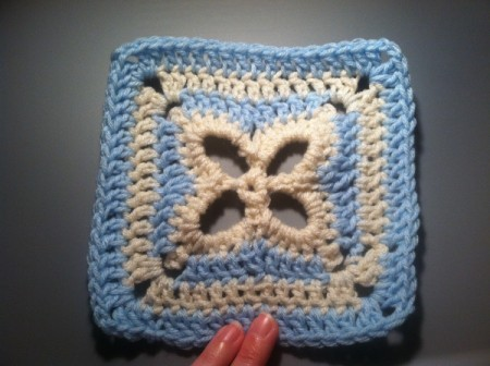 blue and white crochet square