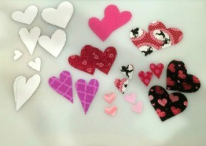 templares and fabric cutouts for making hearts