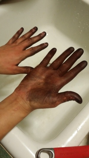 brown hair dye on hands