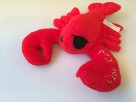 red stuffed lobster toy with an eye patch