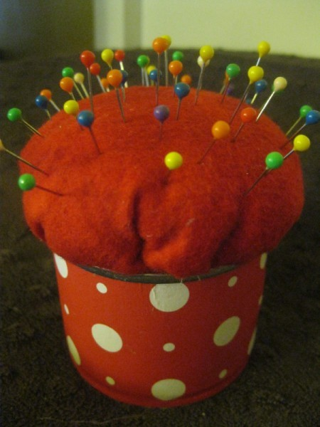finished pin cushion with pins