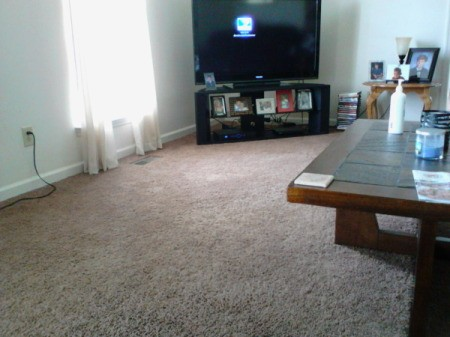 view of carpet and table
