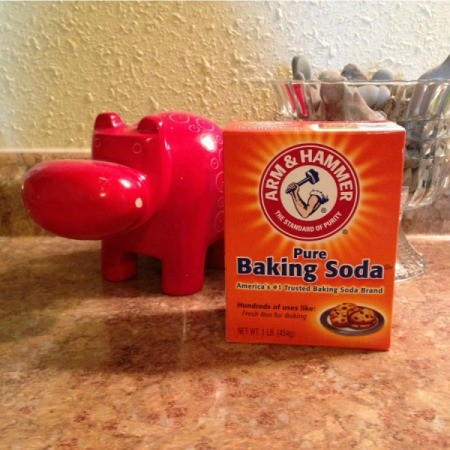box of baking soda on kitchen countertop