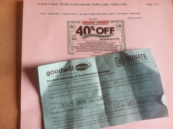 Coupons for saving at the Goodwill
