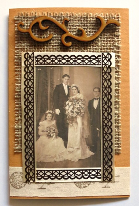 Rustic Country Wedding Invitation - adding embellishments to card