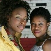 two young African American women with curly hair