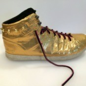 Decorating Shoes With Duct Tape - athletic shoes covered in gold duct tape