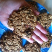 Healthy Breakfast Cookies - cookie resting in the palm of baker's hand