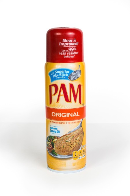 A can of Pam brand cooking spray.