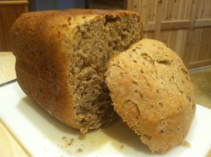 Whole Wheat Bread (Bread Machine) - cut loaf of bread