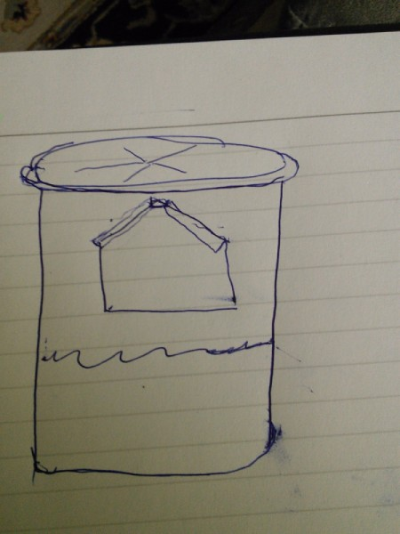 sketch of finished water bucket