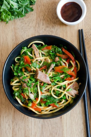 bowl of veggies, pork and noodles