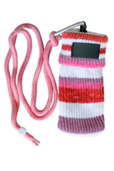 striped knit sock like phone pouch