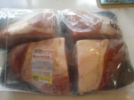 Packaged ham ready for the freezer