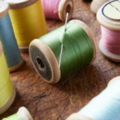 wooden thread spools