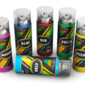 Cans of spray paint in various colors.