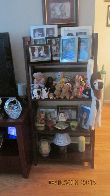 A shelf with stuffed animals and other collectibles.
